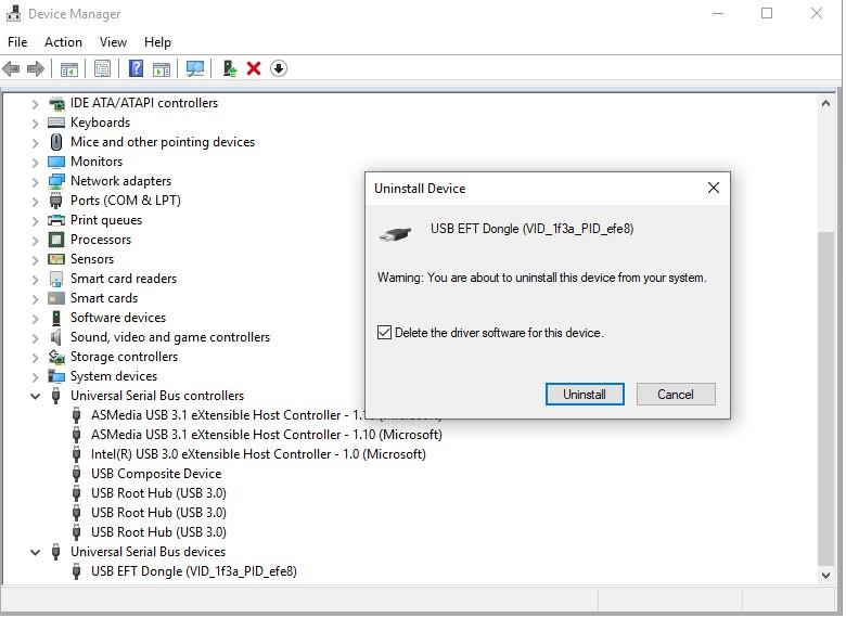 تثبيت/ازالة/تفعيل تعاريف اجهزة معالجات Allwinner للعمل على EFT Dongle