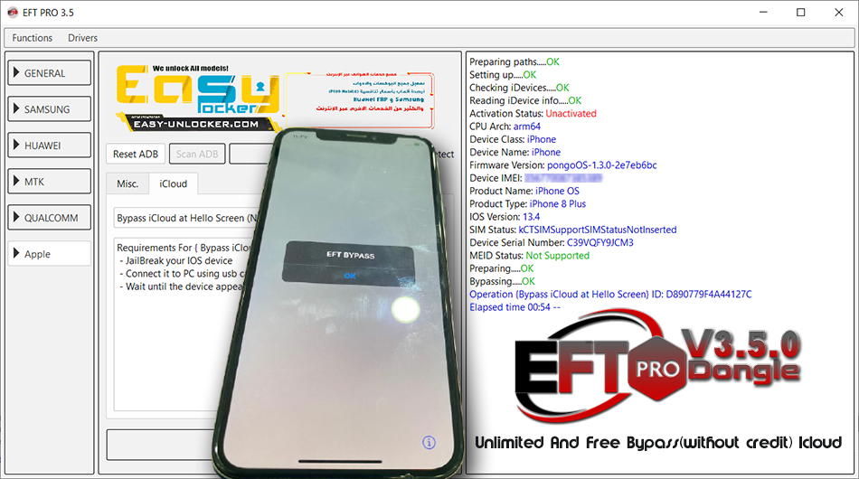 ★Successfully BYPASS ICLOUD By EFT PRO Dongle★